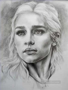 Game of Thrones Painting - Portrait of Daenerys Targaryen sketch Game of Thrones