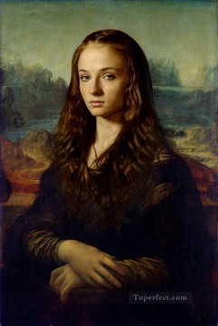 Thrones Art Painting - Portrait of Sansa Stark as Mona Lisa Game of Thrones