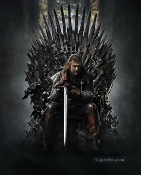 Game of Thrones Painting - What if Ned Stark in Iron Throne Game of Thrones