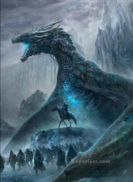 Game of Thrones Painting - Night King White Walkers and Dragon Game of Thrones