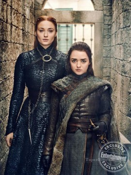 Artworks in 150 Subjects Painting - Sansa and Arya Stark Game of Thrones