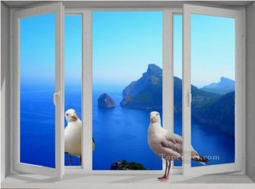 Magic 3D Painting - pigeon on the window magic 3D
