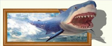 Magic 3D Painting - a shark 3D