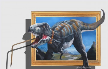 hunting dinosaur 3D Oil Paintings