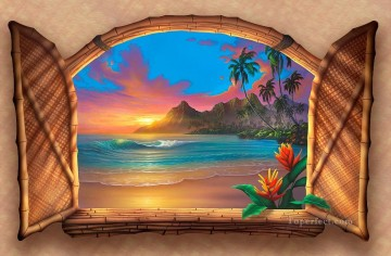 Beyond Paradise Sunset Painting magic 3D Oil Paintings