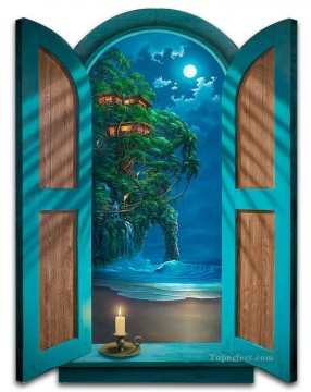 Seascape with Tree House magic 3D Oil Paintings