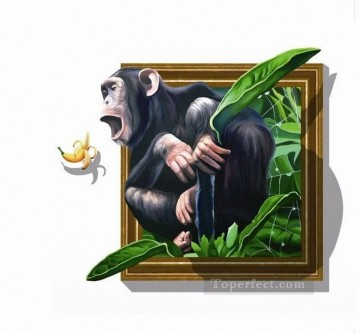 Magic 3D Painting - orangutan and banana 3D