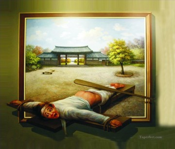 punishment in Chinese yard 3D Oil Paintings