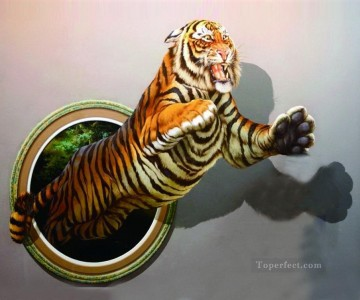 tiger growls 3D Oil Paintings