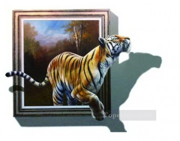 Magic 3D Painting - tiger out of forest 3D