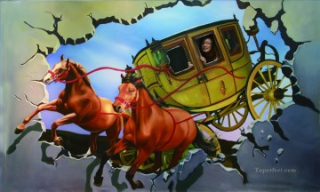 Magic 3D Painting - Chinese girl in carriage 3D