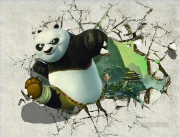 Kung Fu Panda out of the temple 3D Oil Paintings