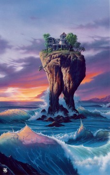 mermaid Painting - Mermaids House with a view Fantasy