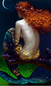mermaid Painting - Victor Nizovtsev 1965 Russian mermaid under moon Fantasy