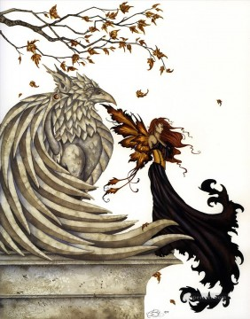 Fantasy Oil Painting - autumn griffin Fantasy