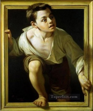 Fantasy Oil Painting - boy jump the window Fantasy