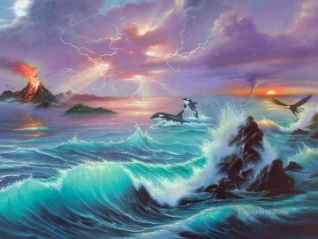Popular Fantasy Painting - dolphins and eagle Fantasy