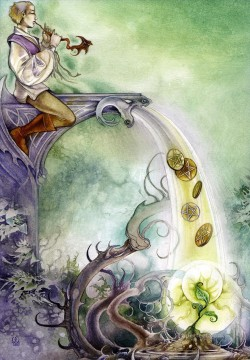 Dream Painting - dreamscapes the bard six of pentacles Fantasy