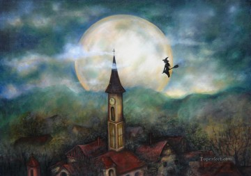 fly to the moon Fantasy Oil Paintings