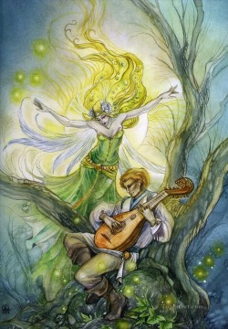 guitar the bard beneath the eildon tree Fantasy Oil Paintings