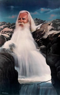 waterfall Painting - man of waterfall Fantasy