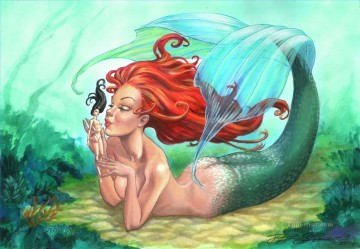 mermaid Painting - mermaid and her toy Fantasy