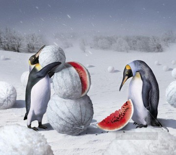 penguins and watermelon Fantasy Oil Paintings