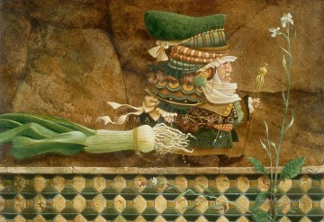 Man Taking a Leek on a Tiled Wall for a Walk Fantasy Oil Paintings