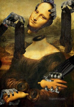 mona lisa Painting - Mona Lisa Robots Fantasy