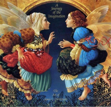Botticelli Canvas - Two Angels Discussing Botticelli Fantasy