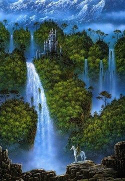waterfall Painting - danny flynn rider under waterfall Fantasy