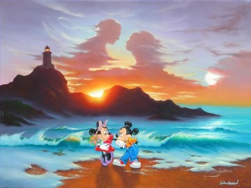 disney Mickey and Minnie Romantic day Fantasy Oil Paintings