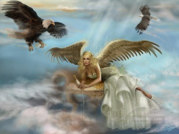eagles and angel Fantasy Oil Paintings