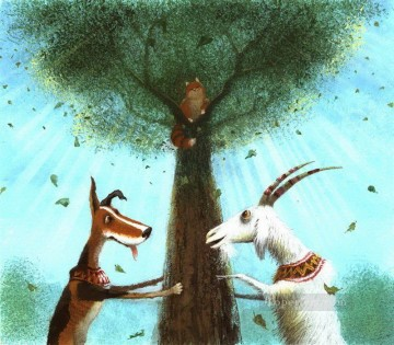 Tales Oil Painting - fairy tales dog and goat catch cat Fantasy