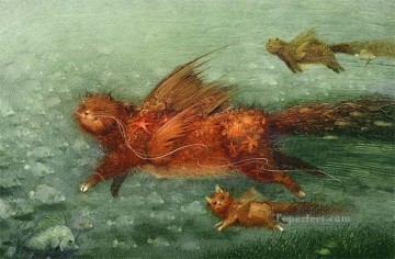 fairy tales flying cat Fantasy Oil Paintings