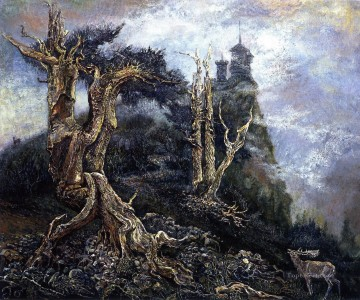 JW the deer and misty hill Fantasy Oil Paintings