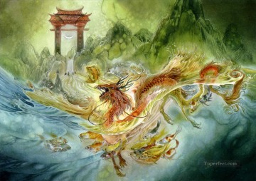 dragon Painting - climbing the dragon gate Fantasy