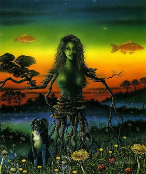 Dog Oil Painting - dog and tree girl Fantasy