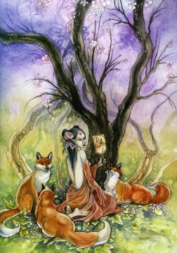 Fantasy Oil Painting - fox the trickster fox spirits Fantasy