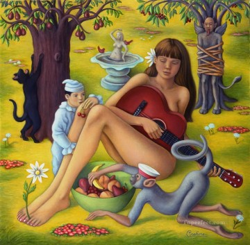 Playing Painting - girl playing guitar with monkey Fantasy