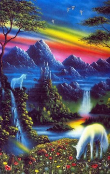 horse hare unicorn valley Fantasy Oil Paintings