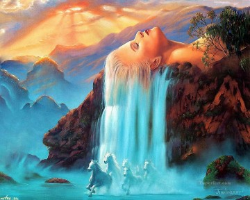 waterfall Painting - waterfall and horse 20 Fantasy