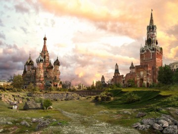 web vladimir manjuhin apocalypse red square sunrise Fantasy Oil Paintings
