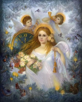 Rabbit Painting - Christmas Angel with birds and rabbit Fantasy