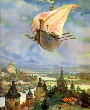 nicolai Painting - Russian nicolai kochergin the flying ship Fantasy