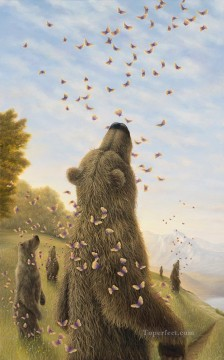 bear and butterfly Fantasy Oil Paintings