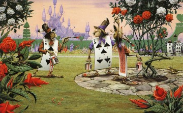 painting Oil Painting - rodney matthews alice in wonderland painting the roses Fantasy