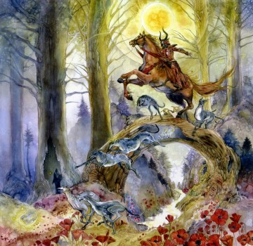 the witchs three red knight of burning day Fantasy Decor Art