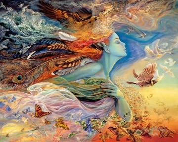 Artworks in 150 Subjects Painting - fantasy angel and birds butterflies