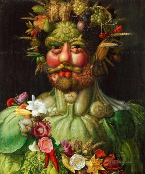Artworks in 150 Subjects Painting - man of vegetable and flowers Giuseppe Arcimboldo Fantasy